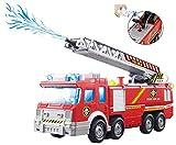 ToyZe Camión de Bomberos de Juguete con Bomba de Agua y Escalera Extendible con Luces intermitentes y Sirenas, Bump & Go Action con Pilas