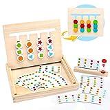 Symiu Juego de Madera Montessori Clasificación con Tarjetas de Patrón y Disco de Color Juguete de Rompecabezas de Madera para Niños 3 4 5