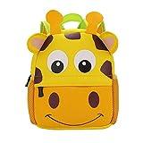 Mochila Infantil para Niños Primaria Pequeña Guardería Mochila Preescolar para Niños de 2-5 Años Dibujo de Animal Lindo (Jirafa, 21 * 8 * 26CM)