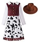 Matt Viggo ReliBeauty Disfraz de Vaquera Vaquera niña con Gorro Disfraces Carnaval,3-4 años