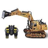 PTHTECHUS RC Excavadora, Vehículos de construcción RC de para Niños con Batería Recargable Control Remoto, Tractor de construcción Incluyey Cargador USB Luces y Sonido