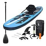 ECD Germany Tabla Hinchable Paddle Surf con Asiento Kayak Sup 305 x 78 x 15 cm Azul Stand up Paddle Board PVC/EVA 120kg 3 Antideslizantes Diferentes Modelos Incluye Paleta Aluminio Bomba y Accesorios