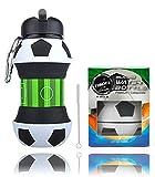 AToZ UK - Botella de Agua de fútbol para niños - Botella de Silicona Plegable - Taza de Bebida Sin BPA, a Prueba de Fugas, Duradera y ecológica - Ideal para Deportes, Actividades y la Escuela - 550ml