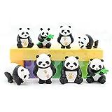 AILINDA Juego de figuras en miniatura de panda, lindo panda para decoración de tartas, juguete panda micro paisaje, decoración de oficina, hogar, fiesta, 8 unidades