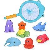 Vacoulery Juguetes Bañera Bebe, 8Pcs Juguetes de Baño Pato Flotantes para Bebé Niños Juguetes Acuáticos Diversión Sonido Lavado Baño Swim (Red de Pesca de 1pc y Juguetes de Animales flotantes 7pcs)