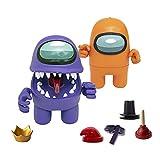 Bizak- Among Us Figura de Acción Pack de 2 en Caja Morado + Naranja (64116015), Multicolor
