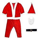 Disfraz Papá Noel Niño - Disfraces para Niños - Chaqueta,Pantalón,Barba,Gorro y Cinturón para Navidad o Cosplay,Conjunto de 5pcs,Rojo (9-13año)