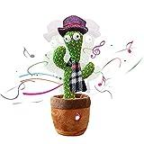 ShengOu Talking Cactus, Dancing Cactus Plush Doll Dancing Cactus Regalos de Animales de Peluche, para niños, Cactus electrónico Carga USB Cantar + Repetir + Bailar + Grabar + LED (Bufanda)