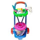 Acan Carro Infantil de Limpieza de Juguete con Cubo, Escoba, fregona y jabón 57 x 31 x 20 cm, plástico, tareas del hogar, Barrer, Fregar, Regalo para niños, Color y diseño Aleatorio