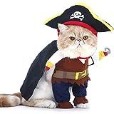 PTN Gato y Perro Caribe Pirata Disfraz, Ropa para Mascotas, Disfraces de Halloween y Navidad, Adecuado para Perros Pequeños a Medianos Gatos