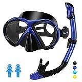 Glymnis Gafas de Buceo Gafas Snorkel Seco Completo Kit de Snorkel Máscara de Buceo y Snorkel Seco Set Máscara Set de Snorkel Profesional para Adultos y Jóvenes Hombre y Mujer Nergo y Azul