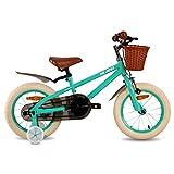 HILAND Bicicleta infantil de 16 pulgadas de ins Star, para niños de 4 a 7 años, con ruedas de apoyo, freno de mano y freno de contrapedal, color verde