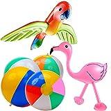 12 Pcs Pelotas de Playa Arcoiris Inflables Flamingo Bolas de Playa Volando Loro Pelota Hinchable para Regalo de Cumpleaños Playa Fiesta en la Piscina Decoración Niños