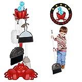 DX DA XIN Juego de limpieza para niños, diseño de dinosaurios, escoba, juguete, con aspiradora, aspiradora, carrito de limpieza con muchos accesorios, juguete de limpieza (7 piezas)