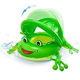 NEWYANG Inflable Flotador para bebé - Círculo de Natación de Rana con Asiento, Sombrilla Desprendible, Manejas, Juguetes de Desarrollo de Natación en Agua para Niños 1-3 años (Verde)
