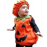 TMOYJPX Disfraz Halloween Bebe Niña Niño Calabaza Cremallera Monos / Sudadera con Capucha, Disfraces Halloween Niñas Recien Nacido (D~Chaleco+Sombrero, 1-2 años)
