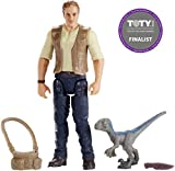 Jurassic World Figura básica Owen con dinosaurio de juguete bebé Azul (Mattel FMM01)