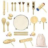 Ulifeme Instrumentos Músicales Infantiles, 27pcs Percusion Musicales Madera Set para Infantil, Niños y Bebe, Madera 100% Puro de Juguete Musical, Kit de Ritmo de Percusión Premium + Bolsa de Algodón