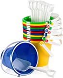Top Race 5' Inch Beach Pails Sand Buckets and Shovels Set for Kids Toys - Pack of 12 or 6 (12 Pack)