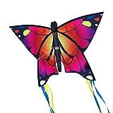 CIM Cometa de Mariposa - Butterfly PINK- Cometa de una sola línea para niños mayores de 3 años - 58 x 40 cm - incl. 20 m hilo de cometa - con tiras de 195 cm en la cola de arco