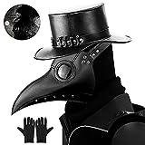 Kungfu Mall Plague Doctor Máscara gótica Cosplay Retro Steampunk Props Máscara de pájaro y guantes de fiesta negros para disfraz de Halloween