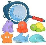 BETOY 7 PCS Juguete de Pesca Baño a Los Niños Niña Educativos , Animales bebé Juguetes de Baño de Goma Flotante apretar Sonido Lavado Baño Swim Buceo Animales