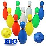 Bolos Infantiles - Juego de Bolos con 10 Bolos y 2 Bolas Colores Interior y Exterior Juguete para Niños 3 4 5 6 Años (Super Gran Tamaño)Altura: 23,5CM