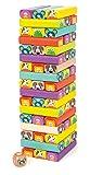 Small Foot  11973 Torre de Bloques Infantil de Madera, 52 piezas de juego con caras divertidas de animales