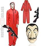 TK Gruppe Timo Klingler Conjunto de Disfraces - House of Money para niños con máscara de Dali Salvador, Rifle Inflable, Mono Rojo para Carnaval y Halloween