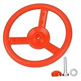 Alomejor Volante de plástico para niños Patio de Juegos Pequeño Volante de Juguete para niños Marcos para Escalar Casas en los árboles Patio Trasero Juego(Red)