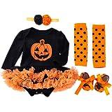TMOYJPX Disfraces Niña Halloween Disfraz Mono Niño 0-24 Meses Invierno, Conjunto Ropa Bebe Niña, Mameluco de Falda+Banda de Pelo+Calcetines (6-12 meses, Calabaza~B)
