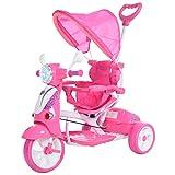 HOMCOM Triciclo para Niños Mayores de 18 Meses Triciclo Evolutivo Plegable con Funciones de Luz y Música Toldo Forma de Motocicleta 102x48x96 cm Rosa