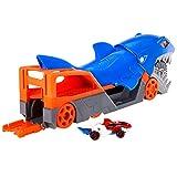Hot Wheels Tiburón mastica coches, guarda y transporta hasta 5 coches de juguete die-casts (Mattel GVG36)