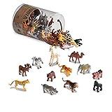 Battat AN6004 Terra - Figurines juguetes de 12 tipos de animales salvajes en un tubo para niños de 3+ años, 10.16 x 10.16 x 13.97 cm, 60 piezas