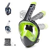 Glymnis Máscara de Buceo 180° Máscara Snorkel Anti-Fuga Gafas Cara Completa con Agente Antivaho Apoyo Camara Deportiva (Negro y Verde, S/M)