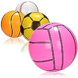 com-four® 4X Pelota de Agua Inflable - Repelente al Agua de Pelota de Playa - Pelota en el diseño de fútbol, Voleibol, Baloncesto [la selección varía]