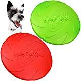 Frisbees de Perro 2 Pcs Juguete de Disco Volador para Mascotas Perros Interactivos Frisbee de Goma para Adiestramiento de Perros 22.5CM(Verde + Rojo)
