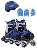 Calma Dragon Patines en Linea Ajustables, Profesionales para Adultos y Niños, con Protección incluida, 4 Ruedas, Skates, Rollers (Azul, M)