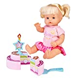 Nenuco -Feliz Cumpleaños, Muñeca bebé de cumple para regalar a los más pequeños a partir de 3 años de edad, con una corona, una tarta de juguete y una vela de número intercambiable, FAMOSA (700016283)