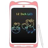 AGPTEK 12 Pulgadas Tablets de Escritura con Pantalla de Color LCD, Botón de Bloqueo, Portátil Tableta de Dibujo para Niños, Clase, Casa, Rosa