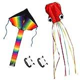 ZoomSky 2pcs Cometa Iris de Triangular y Pulpo bagre Color Vario Rainbow de Volar con Viento Suave para los niños y Adultos (Triangular y Pulpo)