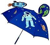 HECKBO Paraguas 3D niños con Astronauta Espacial   con un Cohete, la Tierra, los Planetas, y un satélite con ventanillas   Sombrilla para niños y niñas   Paraguas para niños en Edad Escolar