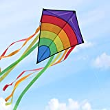 Homegoo Gran Kite Cometa para Adultos, Easy Flyer Cometas Arcoiris Volando al Aire Libre fácilmente con Vientos Fuertes o Ligeros, 74x65cm