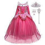 LiUiMiY Disfraces Niña Princesa Vestido de Manga Larga Carnaval Tul Tiara Cosplay Wedding Party Vestido de Carnaval de Cumpleaños para Niñas, Rosa, 128-134 (etiqueta 130)
