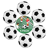 ZAWTR Pelotas Futbolin 6 Pcs, Profesional Mini Pelotas de Futbolin de Mesa 32mm, ABS plástico Pelota pequeña de fútbol de Tabla para Niños Adultos Actividades Deportivas Suministros (Negro & Blanca)