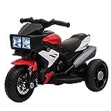 HOMCOM Moto Eléctrica Infantil con 3 Ruedas para +3 Años Triciclo con Pedal para Niños Batería 6V con Luces Música Neumáticos Anchos Velocidad 3 km/h 86x42x52 cm Rojo y Negro