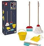 Janod- Cleaning Set Juego de 5 Piezas de Madera para el hogar - Juguete de imitación - A Partir de 3 años (JURATOYS J06588)