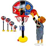 ajustable niños Kids Junior del aro de baloncesto y el soporte de la bomba de la bola del tablero trasero Juego de bolas diversión al aire libre Juguetes actividades de interior y por 3-7 años(200cm)