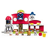 Fisher-Price Little People Granja cuida a los animalitos, juguetes bebés 1 año (Mattel FKD00)