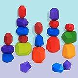 Juguetes de Apilamiento de Madera Piedras de Madera de Colores Equilibrio y Ordenar Montessori niños Juguete Educativo Bloques Construcción Madera Juego (21 pcs)